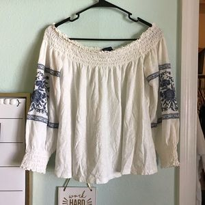 White Embroidered American Eagle Top
